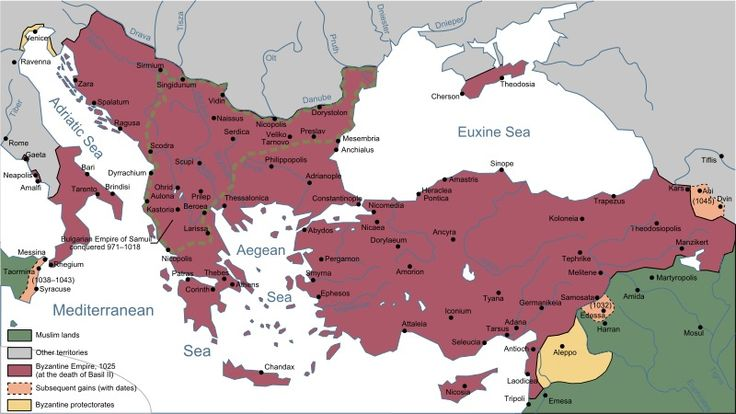By 1025, the Byzantine Empire stretched across modern-day Turkey, Greece and the Balkans.<br />