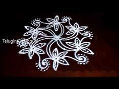 Latest rangoli designs with 7-4 middle   Chukkala muggulu with dots   rangoli designs - YouTube