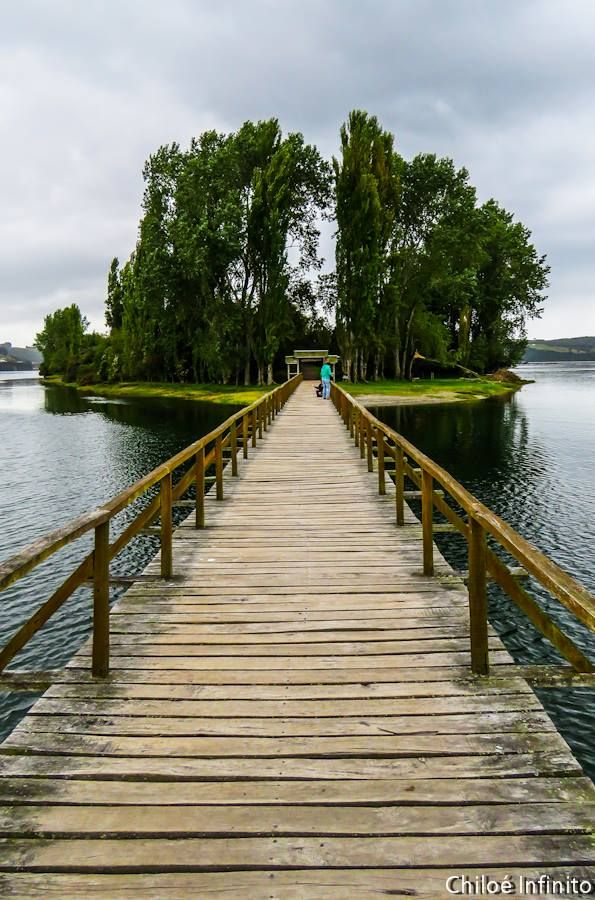 Walkway to Aucar Islet, Quemchi, Chiloé Island, Chile..