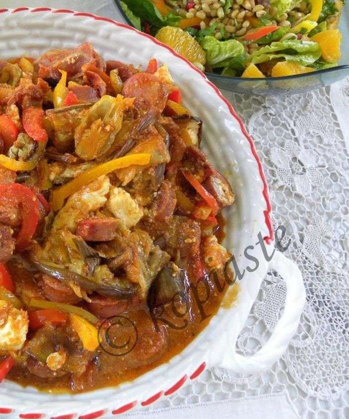 Spetzofai (Greek Recipe with Spicy Sausages and Peppers) with ...