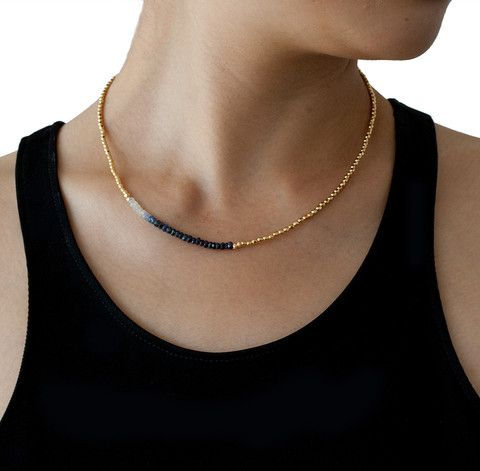 CATHERINE WEITZMAN Sapphire and Gold Necklace – KAVUT