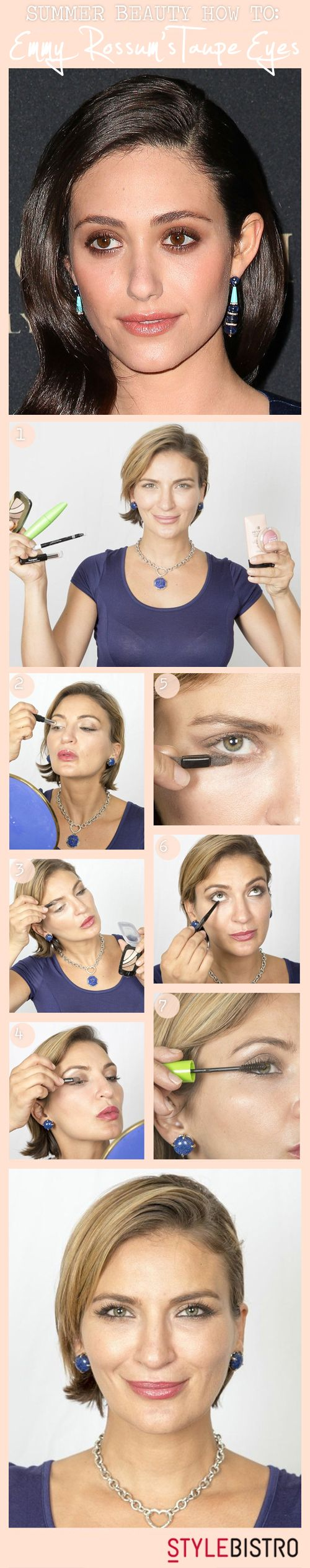 How to Re-Create Emmy Rossum's Smoky Taupe Eye Makeup Look // Beauty DIY