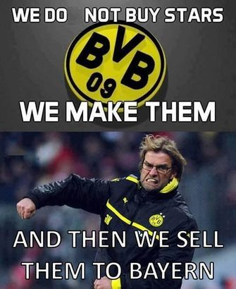 hahahaha! klopp. Bayern Munich! BVB Borussia Dortmund, except that both were free agents and decided to leave!