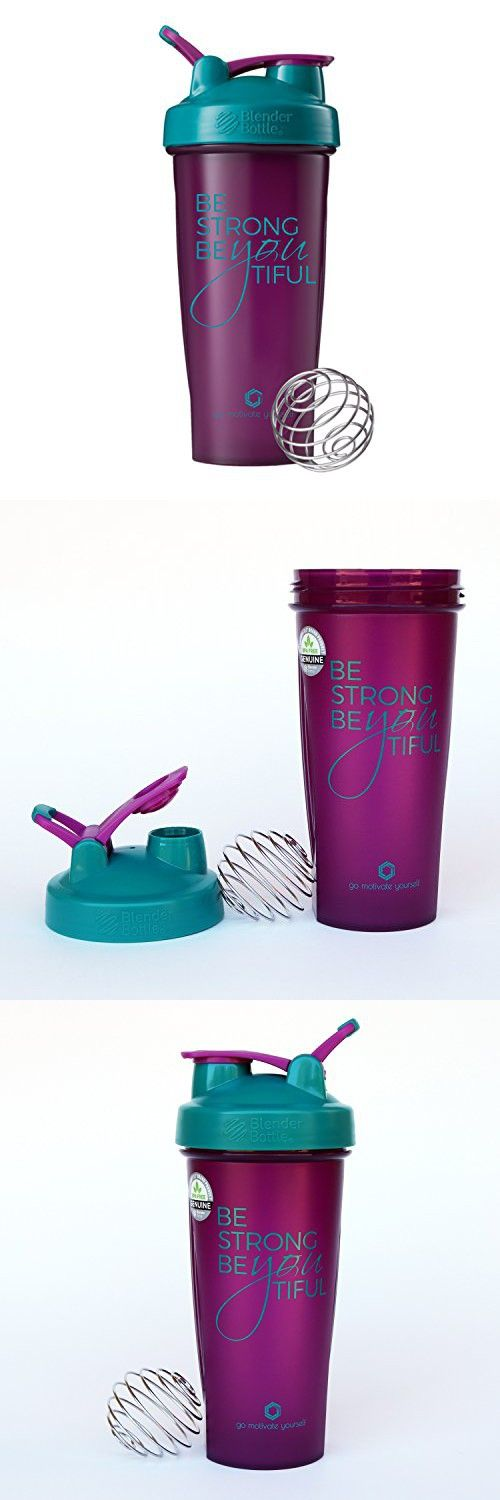 Be Strong BeYOUtiful Blender Bottle, 28oz Classic Protein Shaker Cup (Plum/Teal - 28oz)