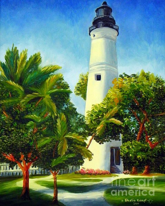 Key West Lighthouse by Shelia Kempf prints available on fineartamerica.com