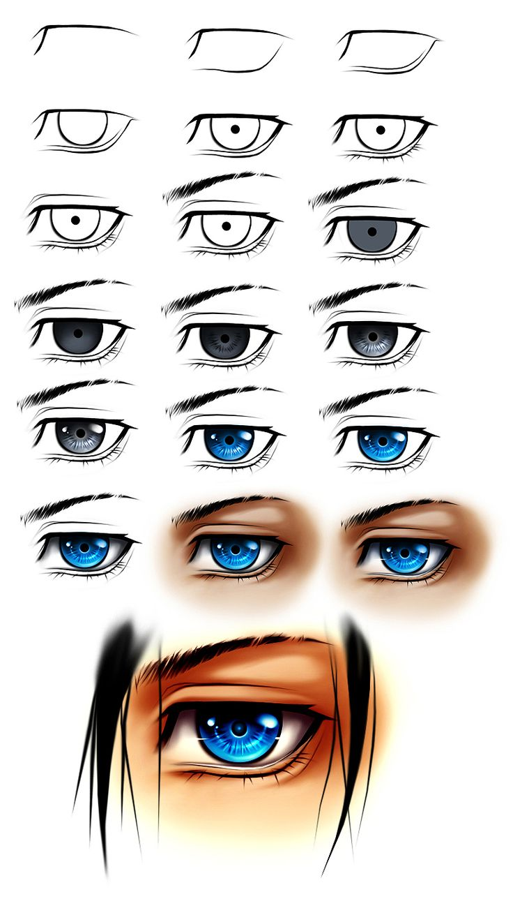 how to draw manga eyes step by step male