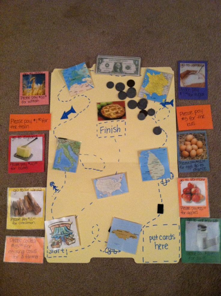 """Economics workjob: based on the book """"How to make an Apple Pie and see the World"""". Students pick a card, then travel to where the country is the card tells them to then uses the money to buy the food they need in that country! Fun way to learn geography & economics!"""