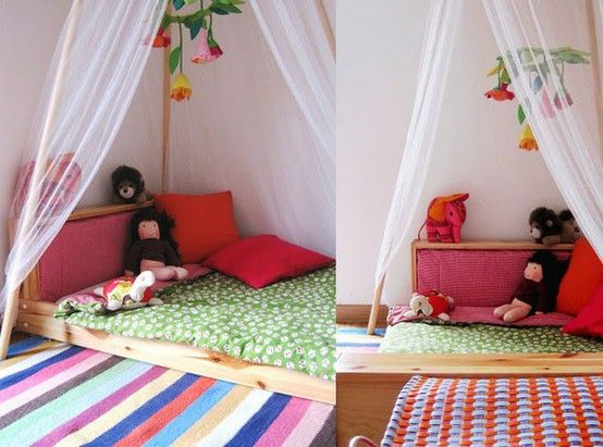 I'm very intrigued with the montessori concept of floor beds.  This is a collection of pictures of cute ones.