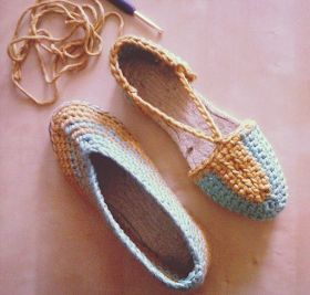 ca la coru: Alpargatas de Ganchillo #crochetshoes #crochet - free pattern in Spanish