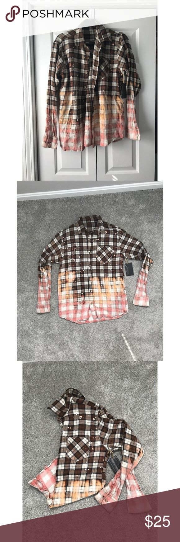 BNWT!  flannel shirt Brand new with tags! (from boutique) Made from recycled materials Hand dipped flannel brown going to peach/pink and white! So cute and unique!! Definitely one of kind! I got an XL because it runs small so it's more like a medium/large artifact Tops Button Down Shirts