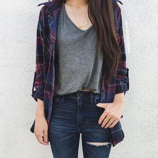 Outfits con camisas de cuadros perfectos para la universidad