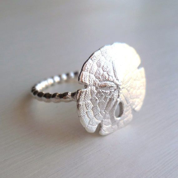Sand Dollar Ring - Sterling Silver - Organic - Beach Jewelry - Beach Wedding - Nature Inspired - Beaded - Sea Biscuit - Sand Dollar Jewelry on Etsy, $44.00