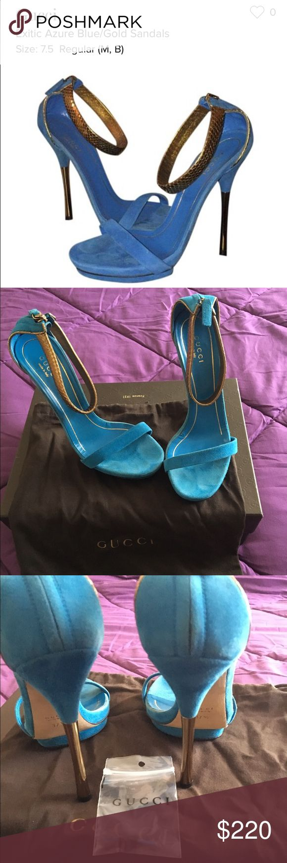 Gucci Blue and Gold Sandals This sexy sandal been worn but still in great condition.  Comes with box, dust bag. And extra shoe tacs.  Width:Regular (M, B) Heel Height:Ultra High 4 + Heel Style:Stiletto Brand:Gucci Color:Blue/Gold Style/Collection:Exitic azure Gucci Shoes Sandals
