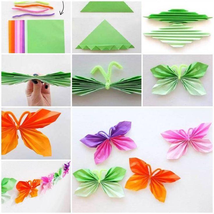 Motýlek skládaný z papíru