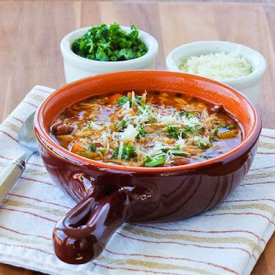 Slow Cooker Vegetarian Pasta e Fagioli Soup with Whole Wheat Orzo from Kalyn's Kitchen