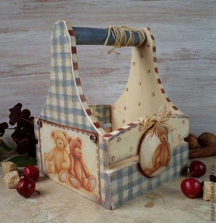 """Корзины, коробы ручной работы. Ярмарка Мастеров - ручная работа. Купить """" Family Teddy """" корзинка. Handmade. Разноцветный"""