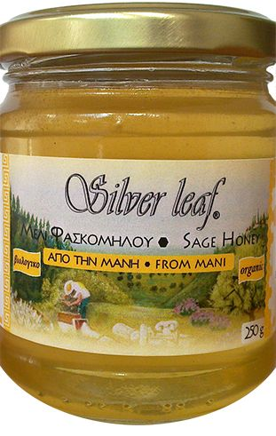 Βιολογικό μέλι Φασκόμηλου από τη Μάνη 250γρ. Silver Leaf Το μέλι φασκόμηλου του μελισσοπαραγωγού Σταύρου Ντάρμου, είναι ένα αγνό και φυσικό μέλι (δεν είναι ζεσταμένο, φιλτραρισμένο).  Το συλλέγουν οι μέλισσες από τα άνθη των αυτοφυών φυτών φασκόμηλου στα βουνά της Μάνης, που λάμπουν κάθε άνοιξη σε φωτεινά βιολετί χρώματα. Είναι ένα σπάνιο μέλι, με χρυσαφί χρώμα και μοναδική αρωματική γεύση! Ταιριάζει υπέροχα με το Ταχίνι 'Silver Leaf'!
