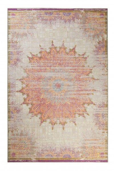 Wecon Home Kurzflor Vintage Teppich » Sunkissed « beige lila gelb blau – Moderne Vintage Teppiche