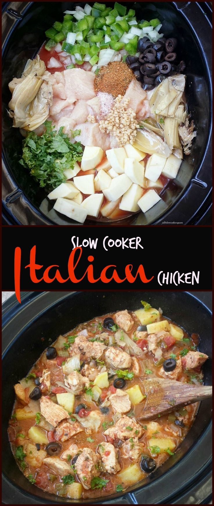Crockpot / Slow Cooker healthy whole30 paleo - Throw your favorite Italian ingredients in the slow cooker with your favorite cut of chicken for this easy and healthy slow cooker recipe.