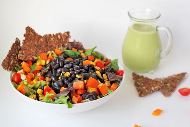 For the Love of Food: Southwest Salad with Jalapeno Avocado Lime Dressing- substitute a date for the agave, leave out the salt