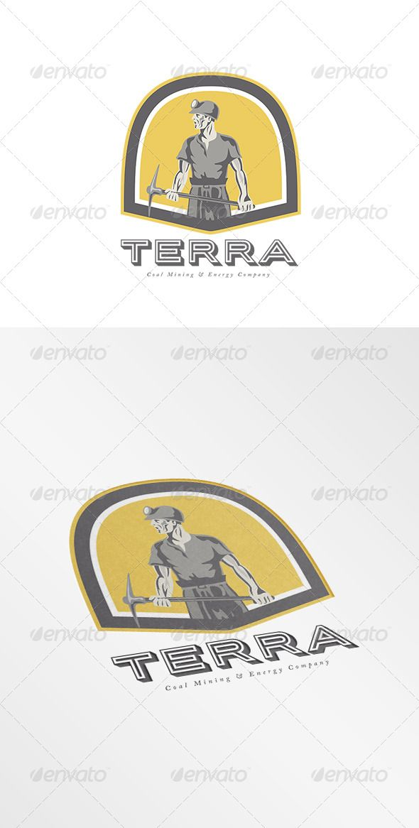 Terra Coal Energy Company Logo — Vector EPS #industry #pick ax • Available here → https://graphicriver.net/item/terra-coal-energy-company-logo/7910778?ref=pxcr
