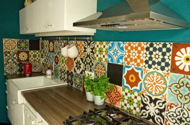 Cementtiles kitchen - Patchwork - Project van Designtegels.nl