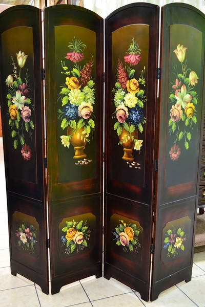 4 panel hinged room divider screen hand painted floral for Painted screens room dividers
