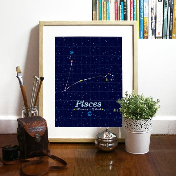 Tableau peinture constellation poissons