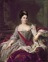 Catherine I, the second wife of Peter I of Russia, reigned as Empress of Russia from 1724 until her death.  In 1724 Catherine was officially crowned and named co-ruler.  Peter died in 1725 without naming a successor.  During a meeting of a council to decide on a successor, a coup was arranged by Menshikov and others in which the guards regiments with whom Catherine was very popular proclaimed her the ruler of Russia, giving her the title of Empress.
