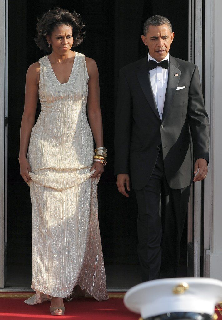 Wearing Naeem Khan at a state dinner with German Chancellor Angela Merkel and her husband, Joachim Sauer, in 2011.