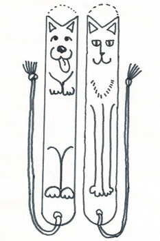 Make dog and cat bookmarks from tongue depressors.