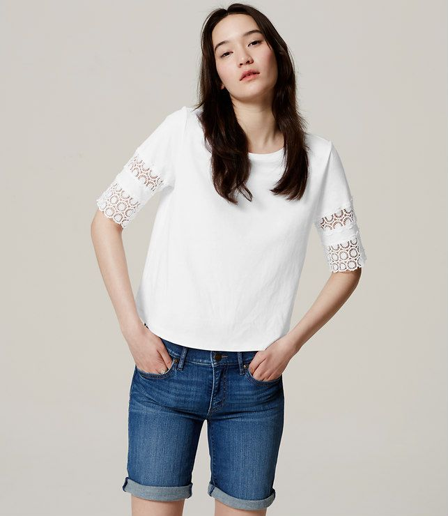 Primary Image of Scallop Lace Tee/ Like the sleeve detail, longer sleeve length