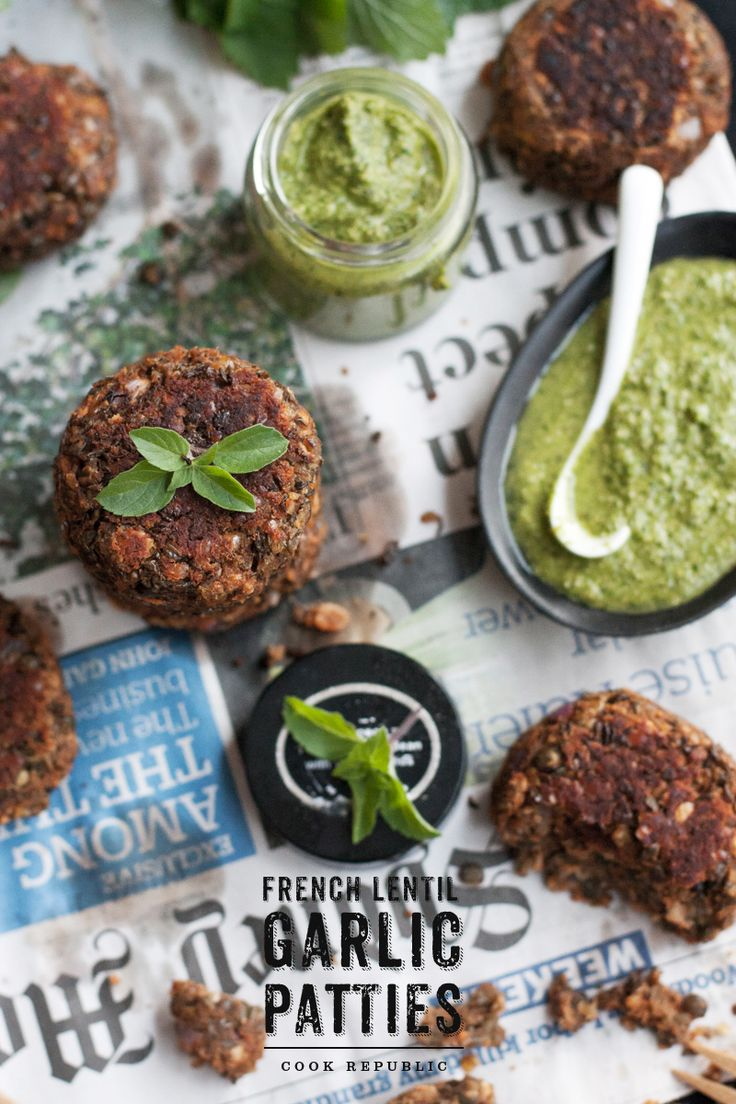 French Lentil Garlic Patties and Green Sauce (lemon balm, basil, cilantro, lemon, peanuts, olive oil)