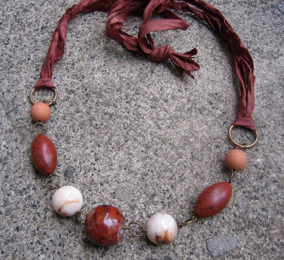 Things Are Bad, Send Chocolate Sari Silk Ribbon Necklace - handmade using recycled vintage beads and unfinished silk ribbon