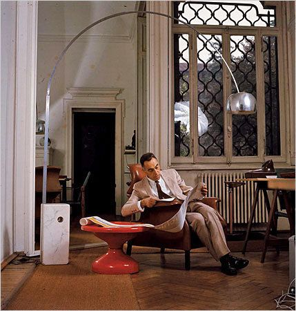 The Arco lamp by Achille and Pier Giacomo Castiglioni. This is a photo of Achille in his studio which I've visited and I'd recommend you do too if you travel to Milan. We were shown around by this daughter. The most inspiring day of my life.