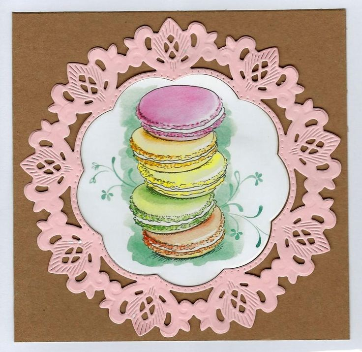 Mother's Day Greeting Card - Handcrafted - Pink Doily and Macarons by PaperHydrangea on Etsy