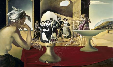 Salvador Dali's 1940 painting Slave Market with the Disappearing Bust of Voltaire is an example of an ambiguous figure. In this painting, the two nuns just left of centre can also be perceived as the bust of the French writer and philosopher Voltaire. When looking at the painting, our perception switches from one interpretation to the other.