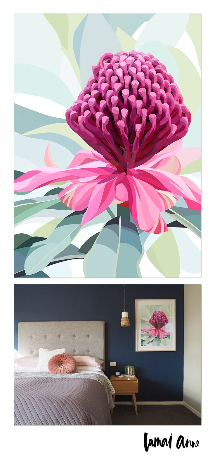 Waratah limited edition giclee art print by Australian artist Lamai Anne. What a wonderful way of bringing the Australian outdoors and a real pop of colour into your home. Lamai's artwork is a collaboration of Native Flora and Fauna that encompasses her home and surroundings. Her illustrations of Australian Natives are meticulously brought to life through her digital art, and the composition between the seasons to create vivid, colourful and eye catching pieces.