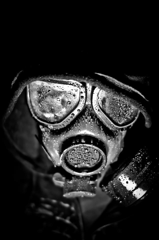 gasmask in the rain