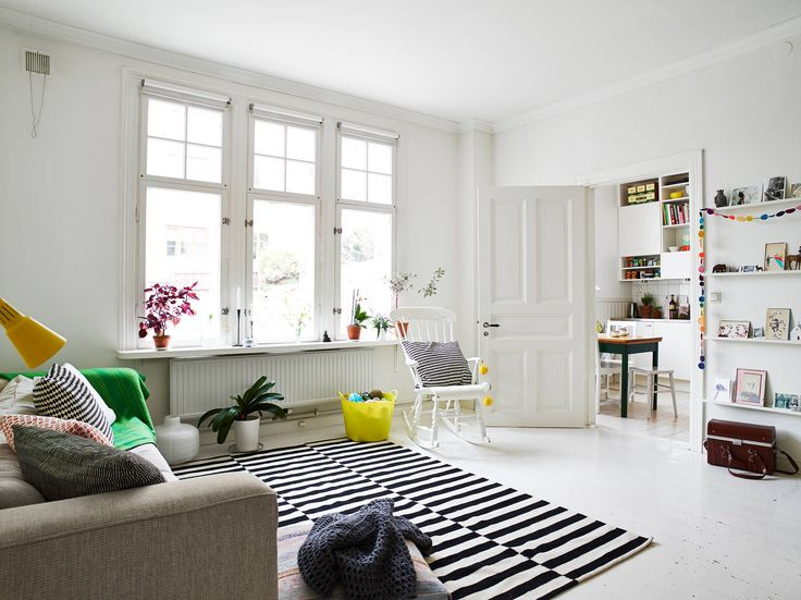 white, light Scandinavian living room