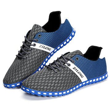 US Size 6.5-11 Men Mesh Breathable Casual Outdoor Canvas Flat Sneakers