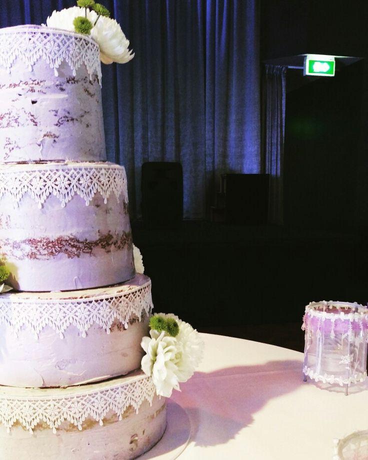 Lilac Semi Naked Cake #thebakespace #lilac #christening #seminakedcake #nakedcake #flowers #cake #bake