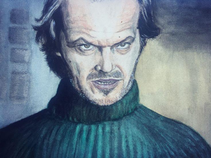 Watercolour painting portrait Jack Nicholson aquarelle