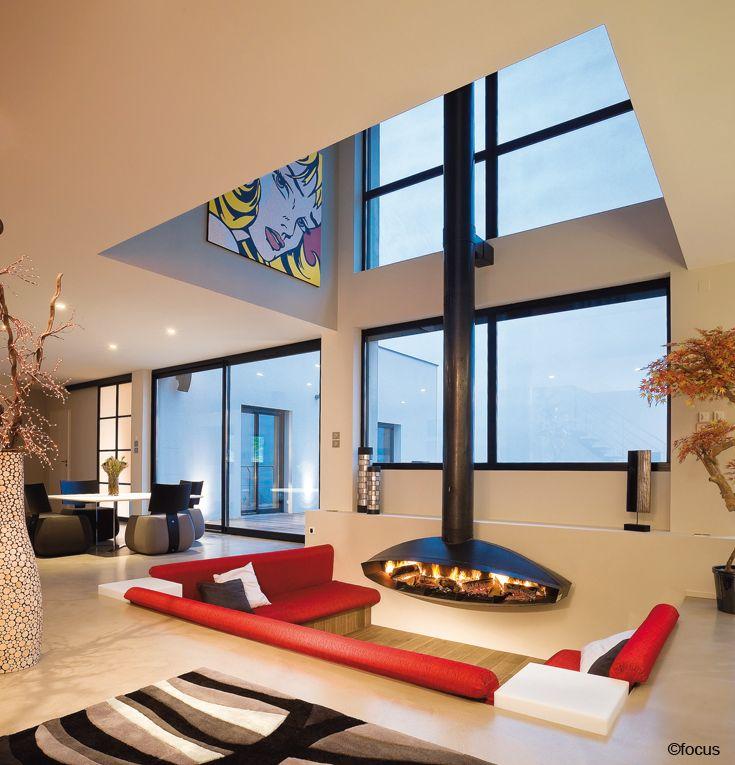 #cheminee antefocus  Foyer suspendu ouvert à bois #design contemporain