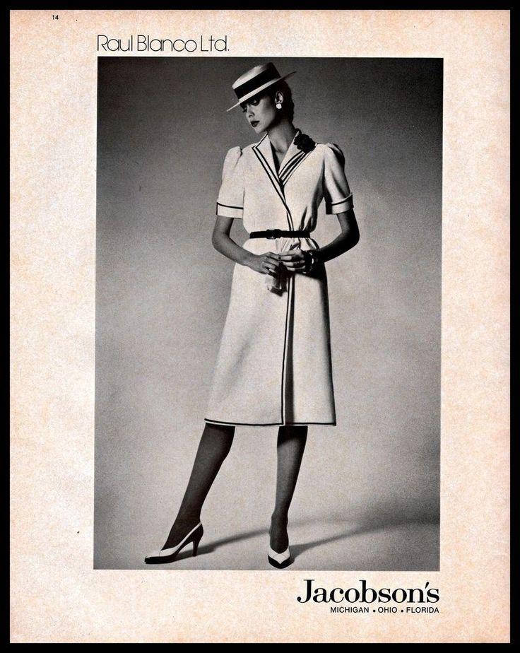 1983 Raul Blanco #DesignerDress #Jacobson's #B&W #Vintage #1980s Photo Print #Ad #RaulBlanco
