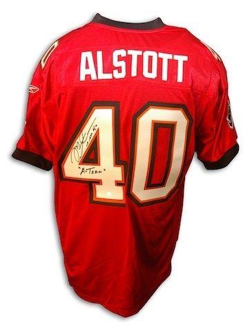 Autographed Mike Alstott Tampa Bay Buccaneers Authentic NFL Reebok Red  Jersey inscribed