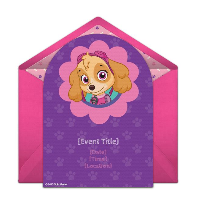 Customizable, free PAW Patrol Skye online invitations. Easy to personalize and send for a PAW Patrol birthday party. #punchbowl