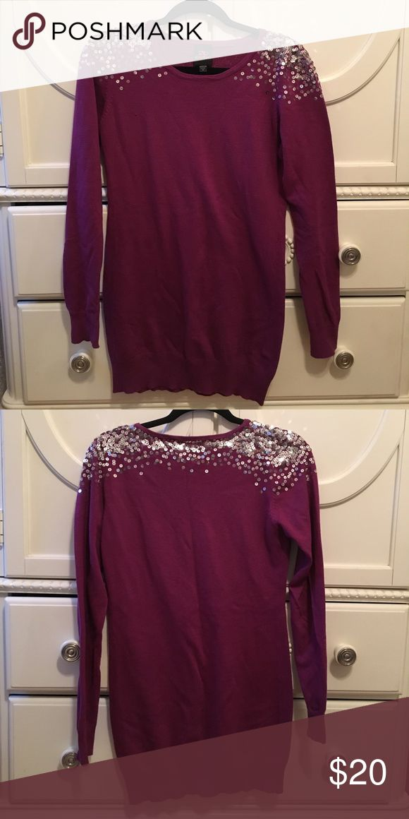 Long sleeve sweater dress sequined top Pretty purple colored sweater dress with shiny silver sequins! 52% cotton, 28% rayon and 20% polyester. Cute with leggings! bebe Sweaters Crew & Scoop Necks