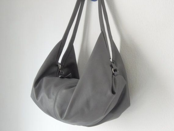 Grey leather hobo bag  , Luna