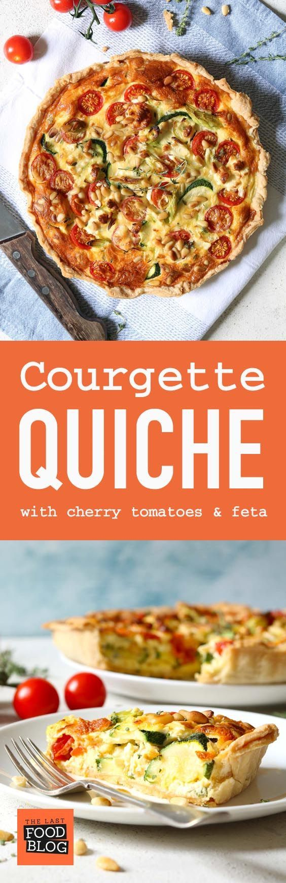 Courgette Quiche with Cherry Tomatoes and Feta - thelastfoodblog.com